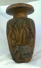 Hand Carved Wood Vase of Elephants in a Jungle - Brown with Shades of Green