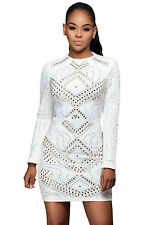 New Stunning White Jeweled Quilted Long Sleeves Mini Dress Size 8 10 12 14 UK