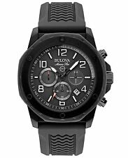 Bulova Marine Star Black Dial SS Rubber Chrono Quartz Men's Watch 98B223