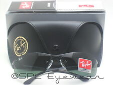 Ray Ban RB 3183 Green Classic Lens 00671 Matte Black Frame Sunglasses NEW!