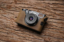 Genuine Real Leather Half Camera Case Bag Cover for FUJIFILM X100F Dark Brown