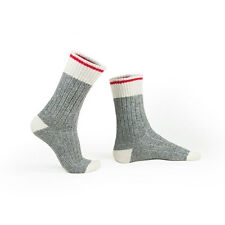 MEN'S WOOL SOCKS STYLE 174B: NATURAL GRAY WITH RED STRIPE, SIZE 11-12, 2 PACK