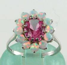 STUNNING 9K 9CT WHITE GOLD PINK TOPAZ FIERY OPAL CLUSTER RING FREE RESIZE