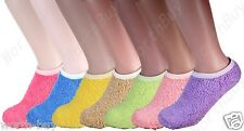 Non Skid 12 Pairs Womens Soft Cozy Fuzzy Warm Solid Low Slipper Socks Size 9-11
