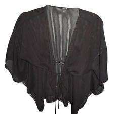 Black Sheer Kimono Sleeve Wrap Top SIZE SMALL gothic boho hippie gypsy top