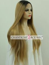 Ombre Blonde Lace Front Wigs Long Straight Synthetic Hair Full Wig Heat Good UK