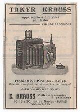 Pubblicità 1911 TAKYR KRAUSS ZEISS FOTO PHOTO advert werbung reklame publicitè