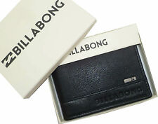 "BRAND NEW IN GIFT BOX BILLABONG ""EXCHANGE"" MENS BLACK LEATHER TRI-FOLD WALLET"