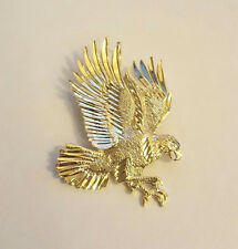 14K Solid Yellow Gold Diamond Cut Eagle Charm Pendant