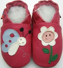 Minishoezoo blossom fuchsia 6-7y soft sole  leather baby chaussons bebe