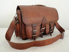 Handmade Real Leather DSLR Camera Bag Padded Briefcase Macbook Satchel Messenger