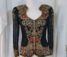 Black Tie Silk Pearl Beaded FORMAL Long Sleeve Blouse Cruise Holiday Evening S
