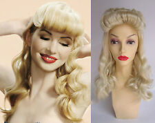 DELUXE BURLESQUE RETRO PIN UP 1940's LONG BLONDE WAVY ROLLED FRINGE WIG