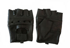 HOT LEATHERS Black Leather Open Knuckle Fingerless Motorcycle Gloves XL
