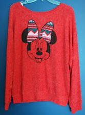New Disney Parks MINNIE Christmas Holiday Lightweight Sweater Misses XL