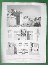 ITALY Ancient Gate & Walls of Pompeii - 1850 Antique Print