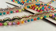 *beautiful multi coloured pearls and ribbon trim lace for crafting edging art 1M