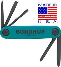 Bondhus Gorilla Grip Utility Fold Up Driver Set Awl Slot Flat Phillips USA 12545