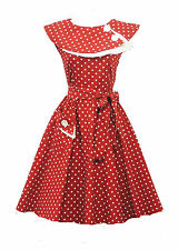 New Ladies Vtg  1950s style Red Polka Dot Pure Cotton  Swing Tea Dress UK18