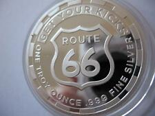 1 OZ .999 SILVER COIN GET YOUR KICKS ON ROUTE 66 GREAT FOR HARLEY RIDER   + GOLD