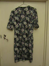 Short Black & Purple Floral TopShop Stretch Dress in Size 14