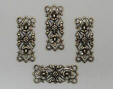 #1628 ANTIQUED GOLD FILIGREE 4 RING CONNECTOR - 4 Pc Lot