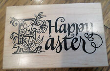 Happy Easter Words Phrase Psx G-1281 1994 Wooden Rubber Stamp