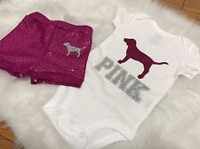 Baby Girl, Size Newborn, Short Set, Pink Dog Outfit, Clothes Lot