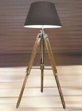 Nautical Floor Lamp Teak Wooden Tripod Lighting Stand Shade Home Decorative