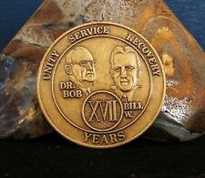 17 Year Alcoholics Anonymous AA Medallion Coin Token Chip Antique Finish CF