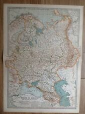 Antique Map Russia in Europe 1897, Finland, Estonia, Belarus, Ukraine, Poland