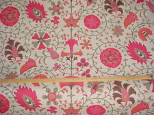 3y  DEEP PINK / CORAL / TAUPE / BEIGE LINEN DRAPERY UPHOLSTERY FABRIC