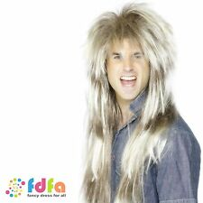 1980s BLONDE & BROWN MEGA MULLET WIG THROWBACK PAT SHARPE - mens fancy dress