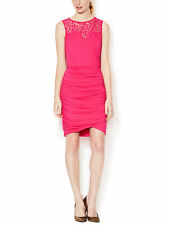 Cynthia Steffe Abigail Mod Pink Shirred Skirt Sexy Cocktail Dress. NWT Small