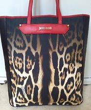 just cavalli bag Leopard Print  New Tote Large leather Canvas Beautiful