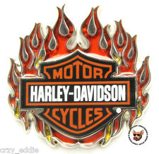 HARLEY DAVIDSON FLAMING BAR AND SHIELD VEST PIN JACKET PIN