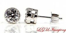 STERLING SILVER CZ ROUND BASKET SET STUD EARRINGS 5mm
