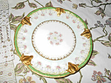Antique B&H Limoges Hand Painted Roses~Gold Encrusted Plate Raised Mold~France~