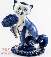 Porcelain Gzhel Figurine Cat Romantic Love puss w flowers valentine's day gift