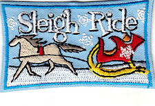 """""""SLEIGH RIDE"""" - IRON ON EMBROIDERED PATCH - WINTER - FUN - SNOW"""