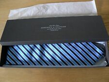 New: Anderson & Sheppard Navy/ Sky Blue Diagonal Stripe Woven Silk Tie (Boxed)