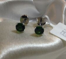 9K White Gold, 1 Ct, Russian, Chrome Diopside Earrings, Stud, Push On Back