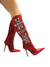 MORI ITALY KNEE HIGH NEW BOOTS STIEFEL STIVALI LEATHER STUDS SILVER RED ROSSO 45