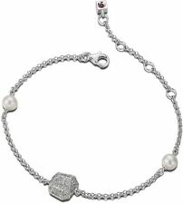 """6.5"""" ELLE Sterling Silver Cultured Freshwater Pearl & Micro Pave CZ Bracelet"""