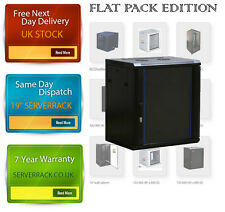 Flat Pack 12U wall mounted Data Cabinet 600 (W) x 450 (D)x 634 (H) Glass Door