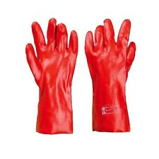"6 PAIRS RED PVC GLOVES WATERPROOF GAUNTLETS 14"" LONG DRAIN CHEMICAL SAFETY"