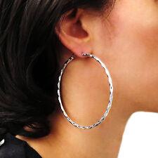 Hoops Large 925 Sterling Silver Hammered Hoop Earrings