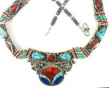 Traditional Inlaid Turquoise with Red Coral and Blue Lapis Collar Necklace Bib