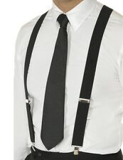 20's 1920s Gangster Braces Capone Fancy Dress Adjustable Black New by Smiffys.