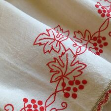 VINTAGE FRENCH LINEN CURTAIN - SMALL VALANCE - REDWORK & LACE - VINE LEAVES